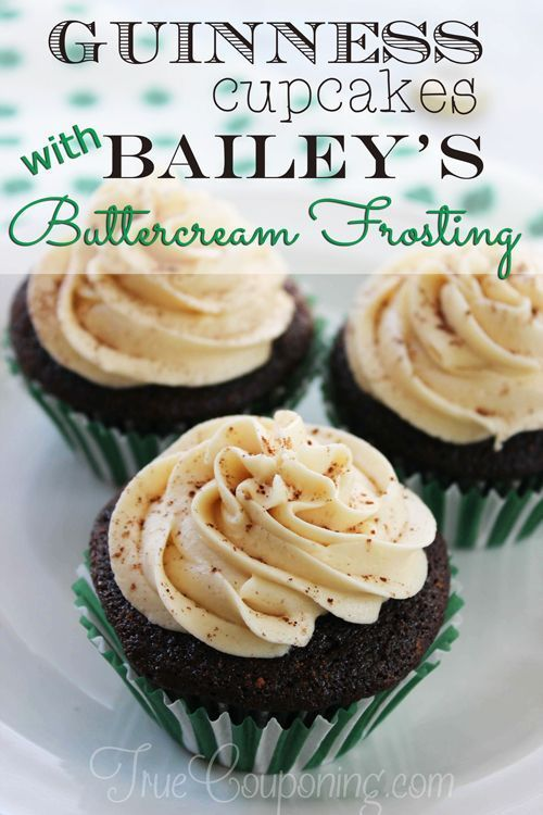 Guiness Cupcakes with Bailey's Buttercream Frosting...oh, my!