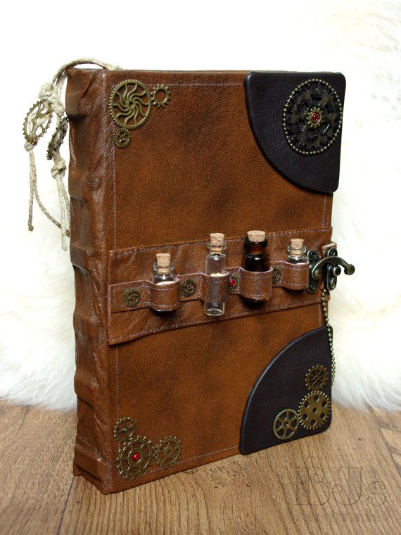 Victorian Alchemist's book. Steampunk notebook - cogs and gears Brown genuine leather journal with bottles, craft paper, handdrawn bookmarks