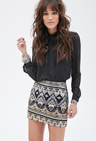 Tribal-Inspired Sequin Skirt | FOREVER21 - 2000082813