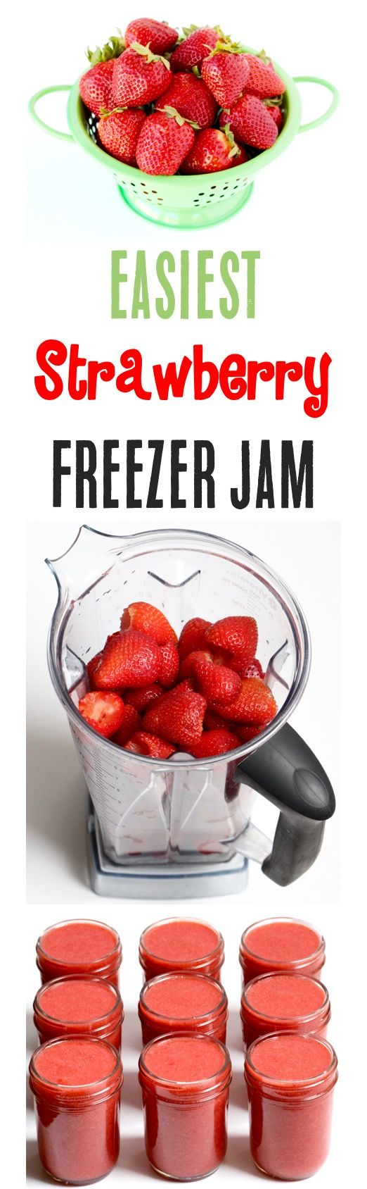 Freezer Jam Strawberry Simple Homemade Recipe!  The EASIEST jam you'll ever make, and so much better than store bought!  Stock your freezer with yummy jam and give some as fun Gifts in a Jar! | TheFrugalGirls.com
