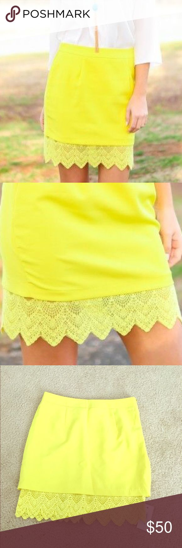 Yellow Lace Hem Skirt Size medium. Brand new with tags. Price is firm!  Stunning lemon colored skirt with lace hemline! Perfect for work or play! Skirts Pencil