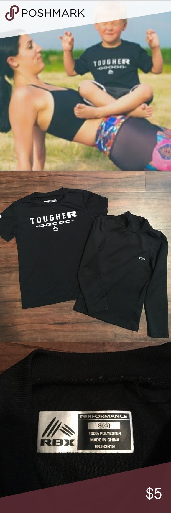 Boys athletic performance wear RBX and Champion Sz 4 and 4-5 black athletic performance wear. One short sleeve and on long sleeve. 👦🏼Bundle with one or more items to offer 50% off👦🏼 RBX, Champion Shirts & Tops