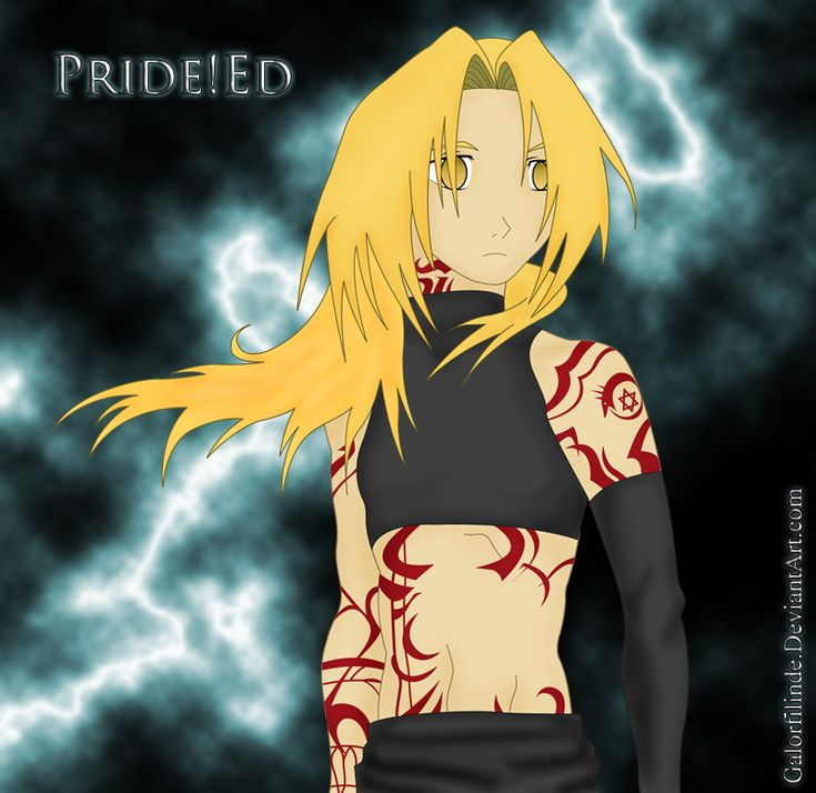 Edward Pride. For those of you who don't know in a fanfiction vido game/choose your own adventure comic book called Fullmetal alchemist bluebird illusion. Edward dies then becomes Pride.