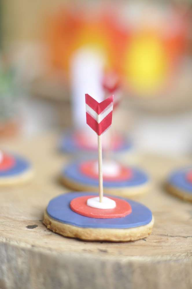 Arrow cookies at an Indian birthday party! See more party planning ideas at CatchMyParty.com!