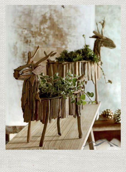 Driftwood Planters | driftwood deer planter from ModernMountainDesign.com. A modern ...