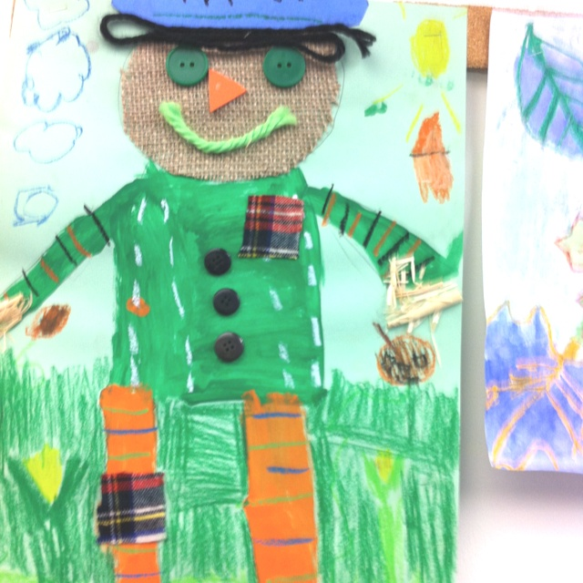 Fall scarecrows: shape, actual texture, pattern, size