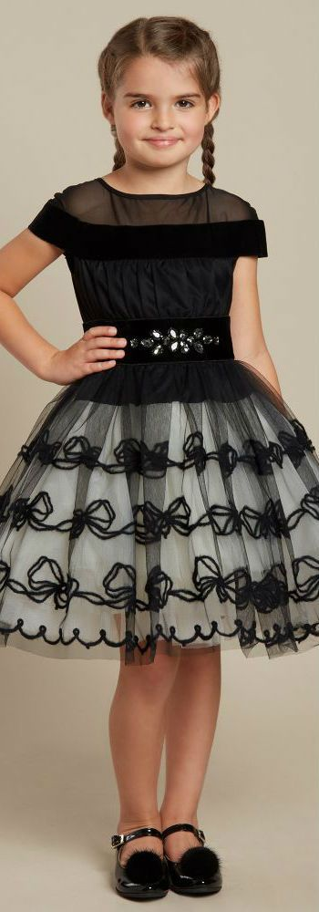 Cute! MONNALISA COUTURE Girls Black Velvet Party Dress. Perfect Holiday Dress for a Special Occasion! #kidsfashion #girl #dress #party