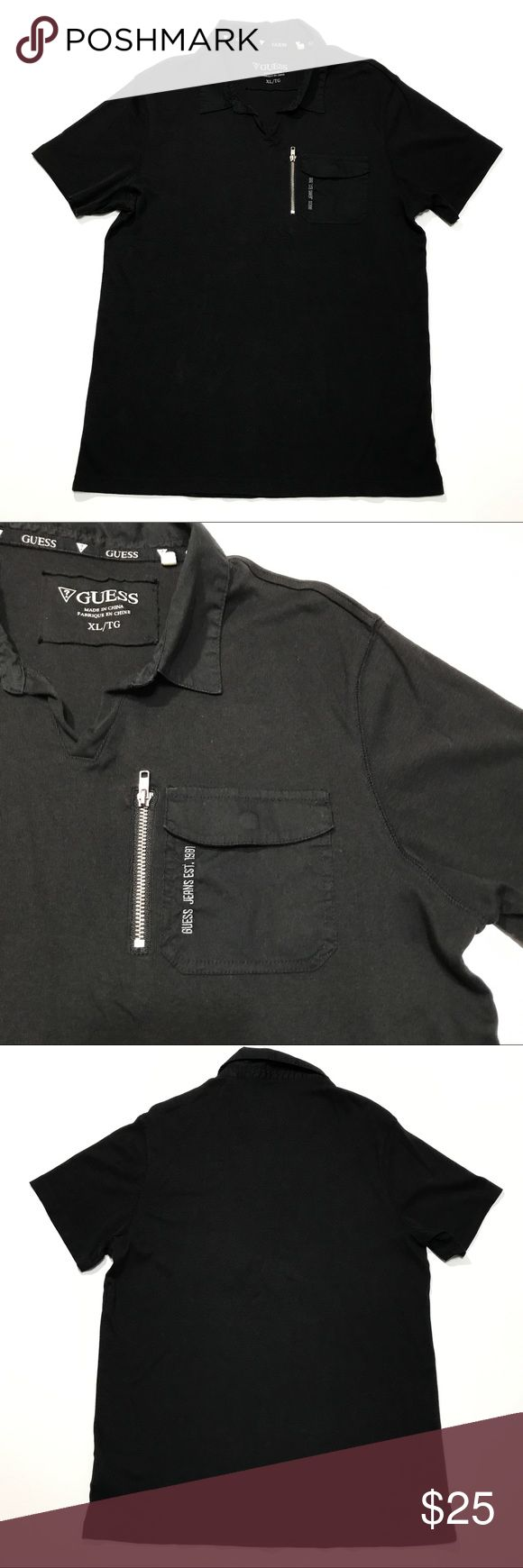 "Guess Black Polo Shirt XL Logo w/ Left Zip Pocket Up for sale is a Guess Men's Black Polo Shirt Sz XL , fits Slim please see measurements for best fit.  Spell out Logo w/ Left Zip Pocket Collared Short Sleeve Very good condition, no flaws or stains.  Armpit to armpit: 21"" Total length: 31"" Guess Shirts Polos"