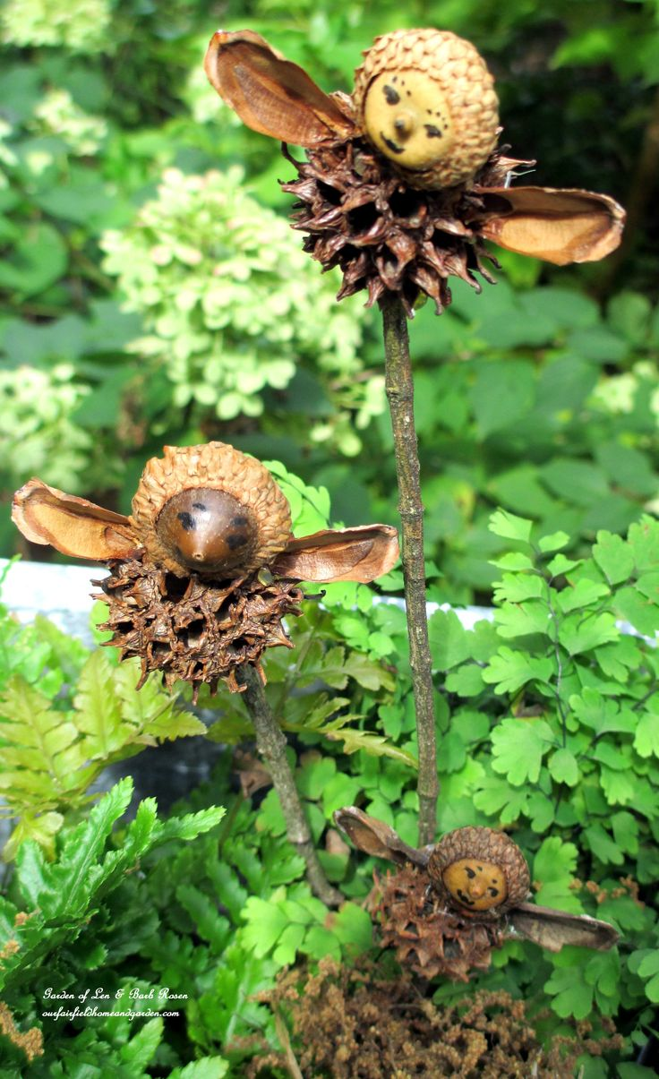 diy kid's project making fairies from natural materials: acorns, sweet gum balls, pine cone segments for wings, use marker for face details ~ our fairfield - complete instructions at http://ourfairfieldhomeandgarden.com/diy-project-making-fairies-from-natural-materials/