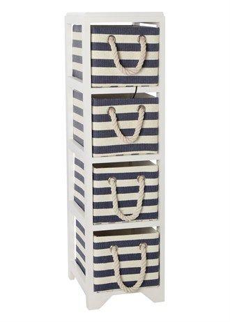 set of 4 blue stripe woven storage drawers 91cm x 28cm x. Black Bedroom Furniture Sets. Home Design Ideas