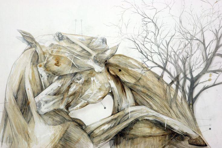 dimensione: cm 200x175 tecnica: matita, olio, smalto, resine, bitume su tela