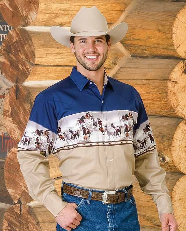 Cumberland Outfitters Men S Blue And Tan Western Horses