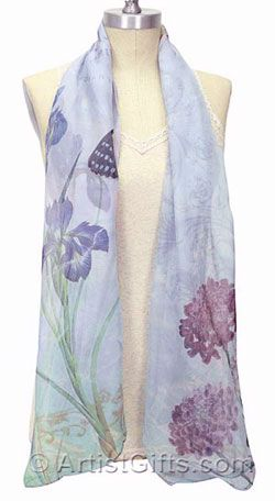Flower & Butterfly Scarf by Artist Heather Myers in light chiffon. Free U.S. Shipping $24.95, Shop now at http://www.artistgifts.com/silk-scarves/hm-butterfly-scarf.html