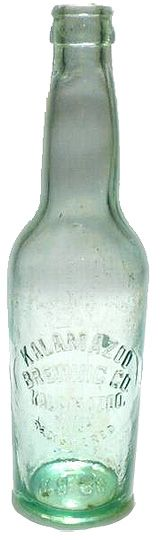 Kalamazoo Brewing Co. embossed bottle, 1907