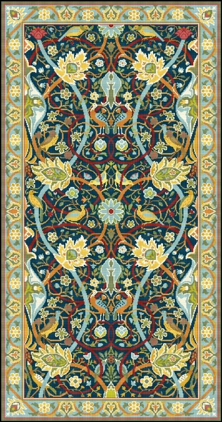Bullerswood Rug Carpet by William Morris by LenaLawsonNeedleArts