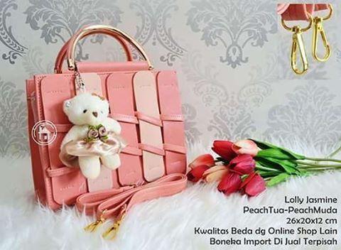 tas cantik lolly jasmine pink 60000pc bahan bagus safiano a no
