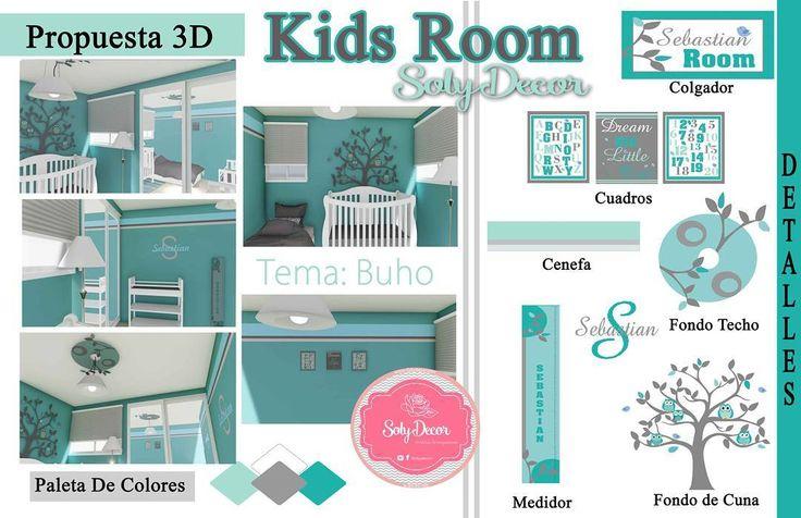 Propuesta Diseño 3D habitacion Infantil tema: Buho #decorkidsroom #creando #3d #habitacion #decoracion #infantil #kidsroomideas #solydecor #buho #cuadros #medidores #fondos #colgadores #propuesta #pasionporeltrabajo by solydecor