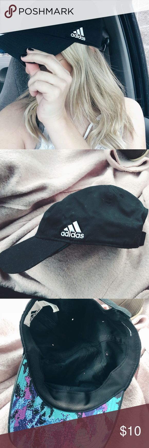Black Adidas baseball cap! Good condition, worn a few times! Design on the inside of the bill, adjustable with Velcro on the back. adidas Accessories Hats