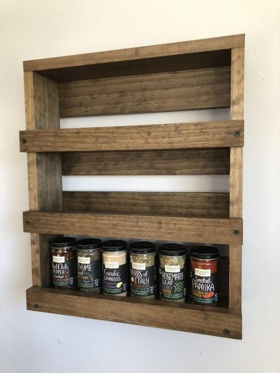 Spice Rack Kitchen Wooden Wall Mounted Spice Storage Wood Etsy
