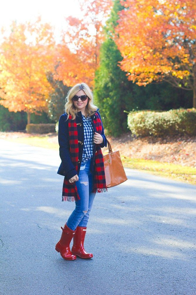 Navy blue and red, buffalo plaid outfit inspiration, red short hunter rain boots, fall outfit ideas.