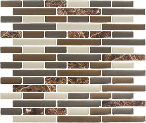 Peel  Impress 11 X 925 Adhesive Vinyl Wall Tiles Bulk 40 RNUMPack Mixed Brown Oblong *** Details can be found by clicking on the image.