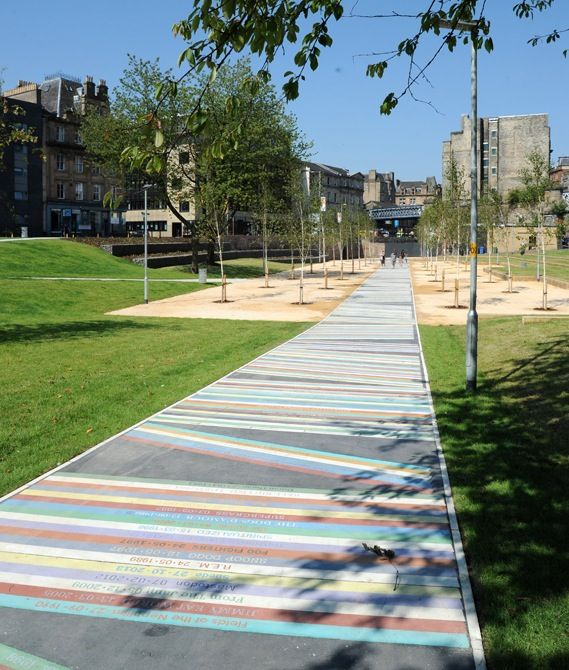 The making of the Barrowland Park album pathway /  Arranged like records on a shelf, artist Jim Lambie's 'album pathway' in Glasgow lists the names and dates of thousands of bands that have played the city's famous Barrowlands venue since 1983.