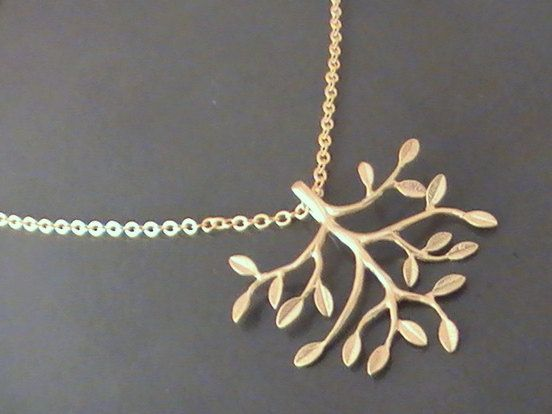 Tree Of Life Pendant Gold Plated Tree Branch by Crystalshadow, $18.00