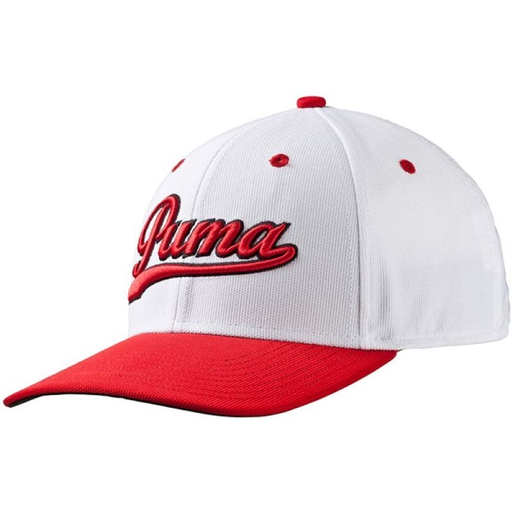 Fancaps - Script Fitted Golf Cap White Red, $35.00 (http://www.fancaps.com.au/script-fitted-golf-cap-white-red/)