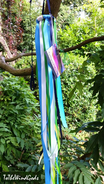 Ribbon mobile wind catcher patio decor nursery by ToTheWindGods