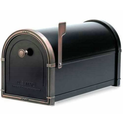 Architectural Mailboxes 5505BLK Black Coronado Mailbox with Antique Copper Accents 5505 by Architectural Mailboxes. $191.88. This version of the Coronado Mailbox are assembled using studs and nuts to eliminate unsightly rivets and weld marks. Other hardware and parts are assembled with corrosion resistant screws. The accent pieces are solid brass and plated in antique nickel.Over six pounds of 100% die cast brass accent pieces boasting elegant designs and stunning detail N...