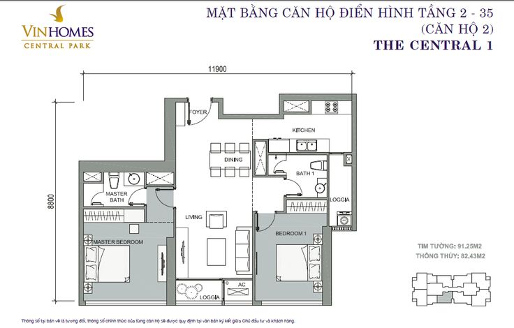 Ban Can Ho 2 PN C1 VINHOMES CENTRAL PARK View Song SG