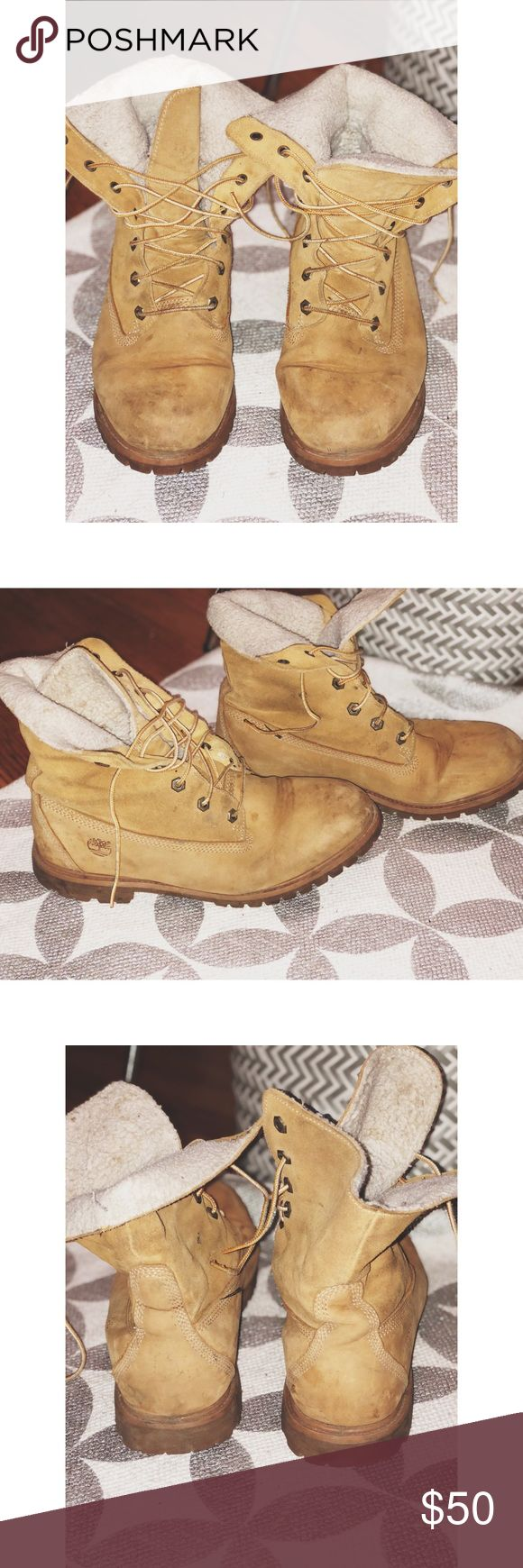 Fleece lined timberland boots! Size 11 timberland boots Well worn, but tons of life left Fit a little big, which is good to wear with thick socks in the winter! Timberland Shoes Lace Up Boots