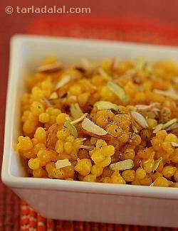 Sweet boondi, a very easy and quick way to make these delicious boondi. . Serve them hot to your guest and they will surely relish it !