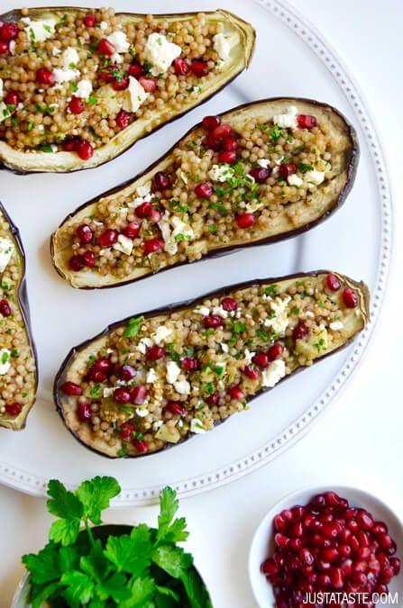 Stuffed Eggplant with Israeli Couscous | recipe via justataste.com