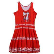 Sprint Summer novedad Sexy mujeres Mini vestido rojo y blanco pareja de dibujos animados imprimir vestido de cuello redondo vestido plisado vestido de Sun(China (Mainland))