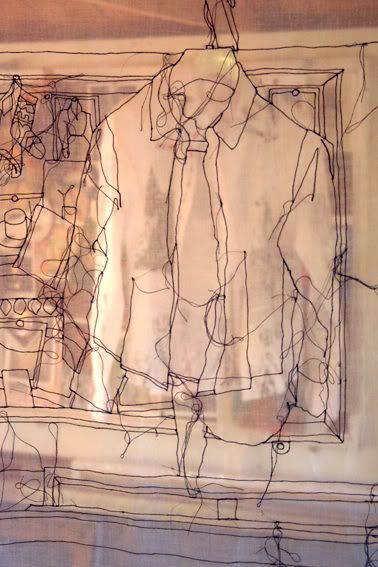 """Rosie James """"stitch"""" drawing-done with--a sewing machine!"""