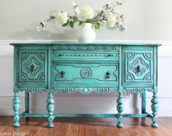 SOLD!!!! Antique BERNHARDT Ornate Jacobean Hand Painted French Country Cottage Chic Distressed Turquoise / Aquamarine Buffet Sideboard