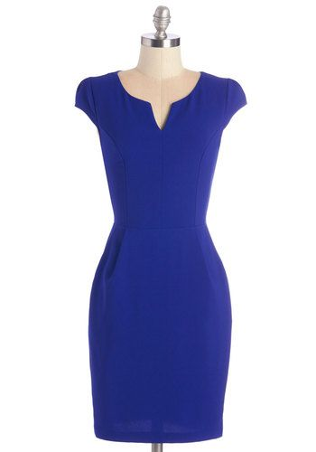 Cove Conference Dress. When work takes you to a tropical locale, your first order of business is to don this sleek sheath and match the bold hue of the nearby cove. #blue #modcloth