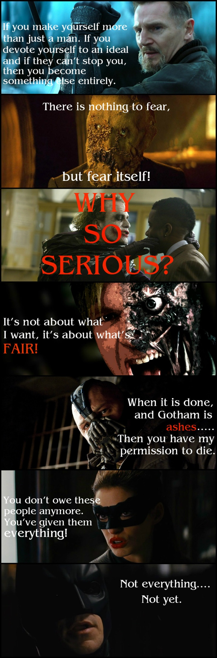 The villains of The Dark Knight Trilogy. They make sense, that's why we love them.