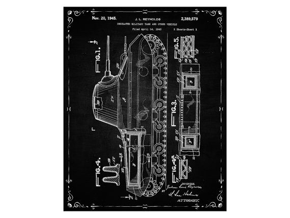Patent Print Military Tank Poster Military Gifts Art