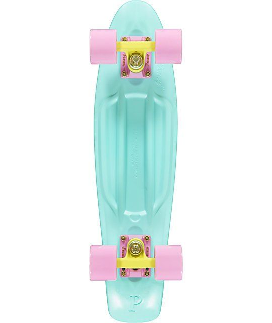 Part of the Penny skateboards Pastel collection this Mint Penny mini Cruiser complete is small enough to take everywhere but is ready to skate it all. Built tough with a plastic injection molded Penny skate deck in the light Green Pastel Mint, Penny 3.125
