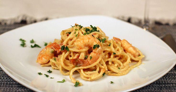 Pasta with Shrimp and Jalapeño Cheese Sauce #GoAutentico #Ad