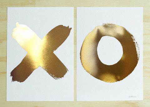 Blacklist Studio prints - XO GOLD OR SILVER foil set of two Cabin