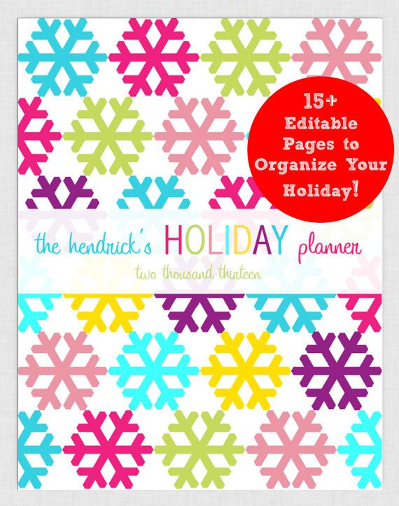 EDITABLE Holiday Printable Planner pdf INSTANT DOWNLOAD- diy/Customize Editable in Adobe Reader