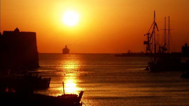 Sunrise at the port of #Heraklion, #Crete
