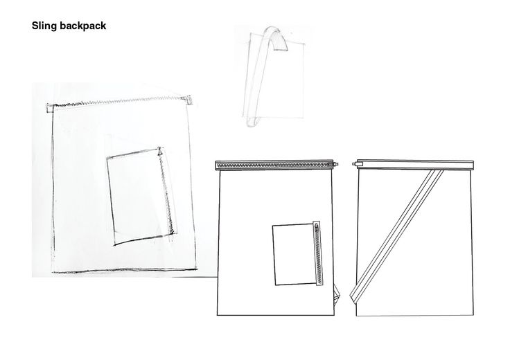 #WHITE project - Sling Backpack sketches #fashion #design #clothing #accessories #fabrics