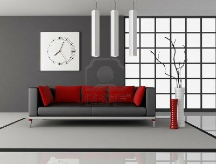 Gray Couch With Red Accents · Natural Living RoomsRed ...