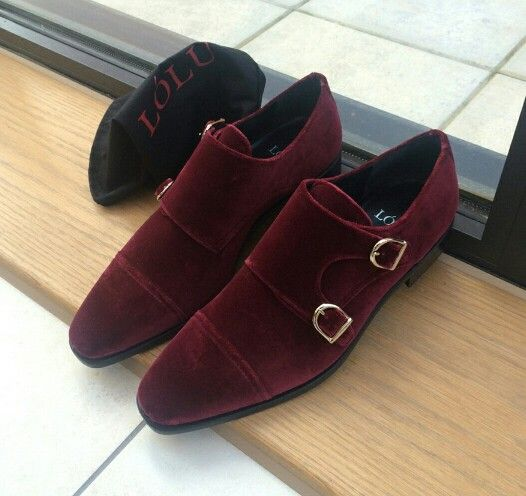 Burgundy Suede Monk Straps Men S Fashion Handmade Leather Shoes