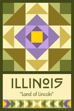 Olde America Antiques | Quilt Blocks | National Parks | Bozeman Montana : 50 STATE QUILT BLOCK SERIES - ILLINOIS - version 2