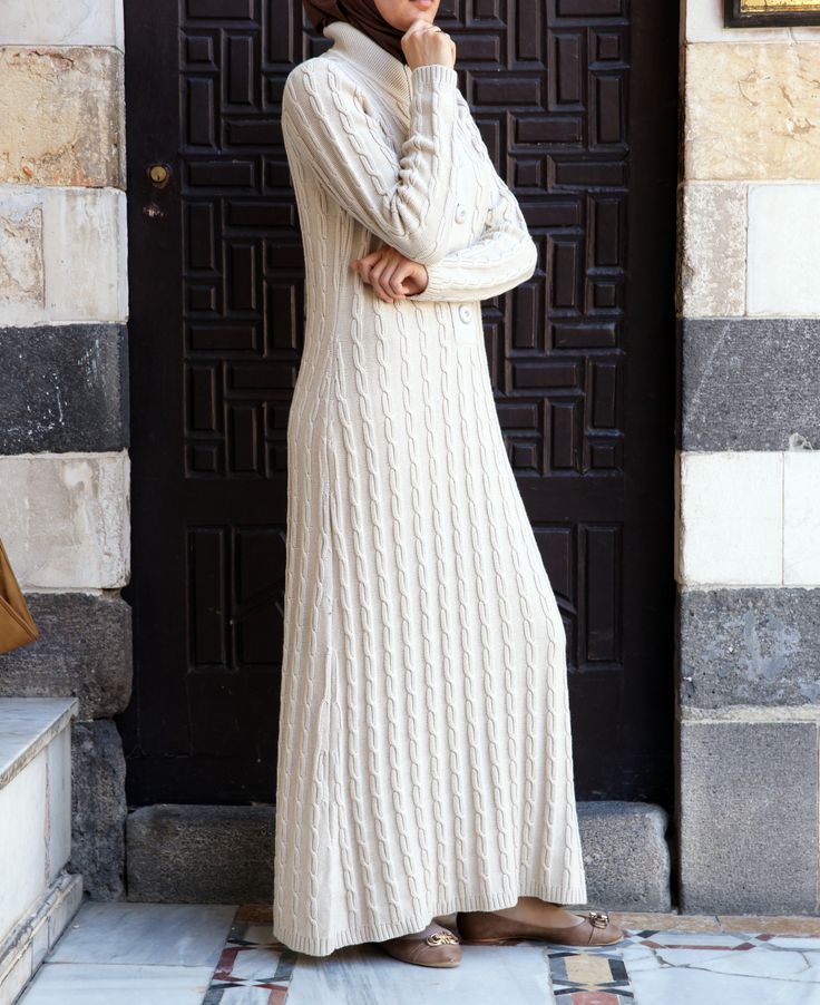 A Cozy knit dress - perfect for cooler weather. From Shukr #Islamic Clothing